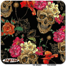 TAOTOP060 1m *10m Popular Corlorful Skull water transfer film Width 100cm hydro graphic film