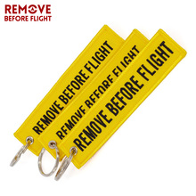 Remove Before Flight Key Fob Llavero Mujer Chaveiro Masculin Yellow Embroidery OEM Key Chian Jewelry Aviation Tag Gift 3 PCS/LOT