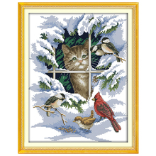 Cat and Birds patterns Counted Cross Stitch 11 14CT Cross Stitch Sets animals Cross Stitch Kits Embroidery Home Decor Needlework