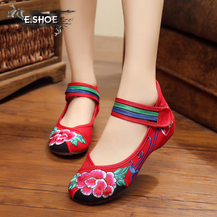 NEW fashion flowers embroidered ethnic style shoes women sexy red Comfort casual Walking flats shoes for ladies free shipping<br><br>Aliexpress