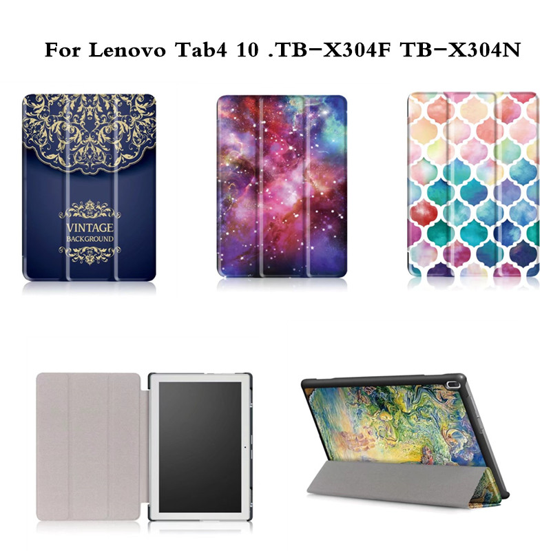 Cute Cartoon Print Stand PU Leather case lenovo tab4 10 TB-X304F TB-X304N (2017 Release ) tablet cover lenovo tab 4 10