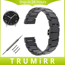 22mm Quick Release Ceramic Watchband +Tool for Armani Diesel Timex CK Casio Citizen Watch Band Steel Butterfly Clasp Wrist Strap