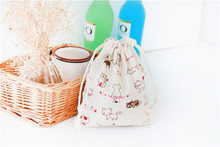 Lovely Cat Drawstring Cotton Linen Storage Bag Gift Candy Tea Jewelry Organizer Makeup Cosmetic Coins keys Bags