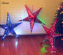 Hot! New 1Pcs 60cm  Six Angles Paper Star Decoration Tissue Paper Star Lantern Hanging Stars For Festival Christmas Party Decor
