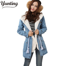 New Korean Winter Women Fur Hooded Denim Cotton-padded Jacket Lady Slim Long Style Thicken Coat Warm Jeans Overcoat(China)