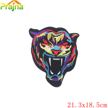 1PCS Punk Rock Iron On Large Wolf Tiger Patch Outlaw Embroidered Biker Patches For Clothes Stickers Jacket Snake Patch Applique(China)