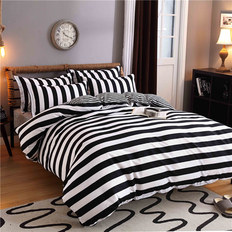 New Cotton Blend Bedding Set Duvet Cover Flat sheet Bed Sheet Pillowcase Fitted Sheet Twin Full Queen Size 1