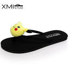 XMISTUO Women Flip Flops with Sweet Cartoon Female Summer Beach Water-resistant 1CM Low-heeled Slippers Hand Made 7111W(China)