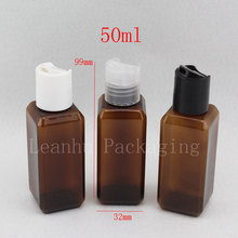 50ml X 50 brown square plastic empty cosmetic packaging travel bottles 50ml with disc top cap ,travel bottles ,shower gel vials