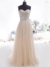 Champagne cheap woman sexy sleeveless strapless long Marcus dress, net yarn sequin woman fashion elegant formal dresses
