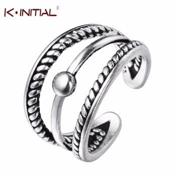Kinitial 925 Sterling Silver Twist Ring Multi Layer Line Open Rings Fashion Women