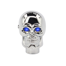 Universal skull Gear Shift Knob with Blue Eyes LED Manual metal Shift Lever Skull Knob Car Styling