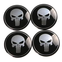 cool Punisher 60mm Car Steering Wheel Center Hub Cap Emblem Badge Decal Symbol Sticker For Honda VW Audi BMW Dodge Ford 0001