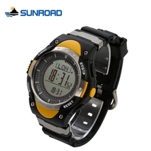 SUNROAD Multifunction Digital Fishing Watch Men Altimeter Watch Compass Pedometer World Time Backlight LED Watch Men Alarm FR826