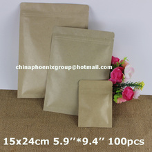 100pcs 15x24cm 5.9''*9.4'' Kraft Paper/Aluminum Foil Valve Zipper Plastic Retail Package Pack Bag,Zip Lock Bag Retail Packaging