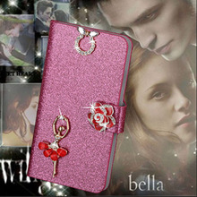 Luxury PU Leather Wallet Case For OPPO Find 5 X909 Flip Cover Shining Crystal Bling Case with Card Slot & Bling Diamond