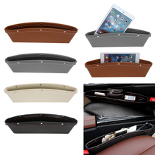 Car Organizer PU Leather Car Seat Organizer Box Caddy Slit Gap Pocket Storage Glove Box lot Box Leather For Books/Phones/Cards(China)
