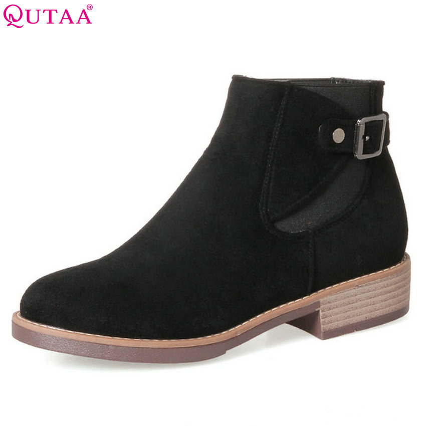 QUTAA 2018 Short Plush Inside Women Ankle Boots Square Heel Round Toe Pu + Scrub Leather Elastic Band Ladies Boots Size 31-43<br>