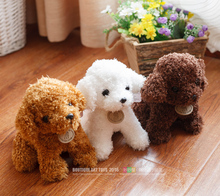 Free shipping simulation Teddy dog lady, poodle plush toys, animal suffed doll for Christmas gift