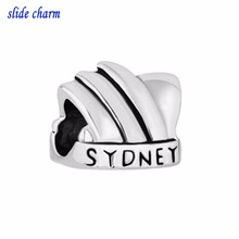 Free shipping European new fashion black and white sydney opera house building small accessories beads fit Pandora bracelet(China)