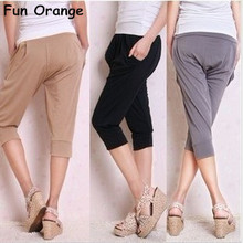 Fun Orange candy color fashion harem pants loose leggings ice silk hot-selling summer harem short leggings pants