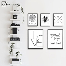 NICOLESHENTING Nordic Art SMILE LOVE Quote Art Canvas Poster Minimalist Print Motivational Wall Picture Home Room Decoration