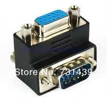 90 Degree VGA SVGA Male to Female Right Angle Adapter Port for 15pin TV Cable Connector(China)