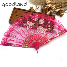 Wholesale Free Shipping 100pcs Lace Rose Flower Embroidered Lace Fan Lace Hand Held Fans Tulle Folding Fans Dancing Props(China)