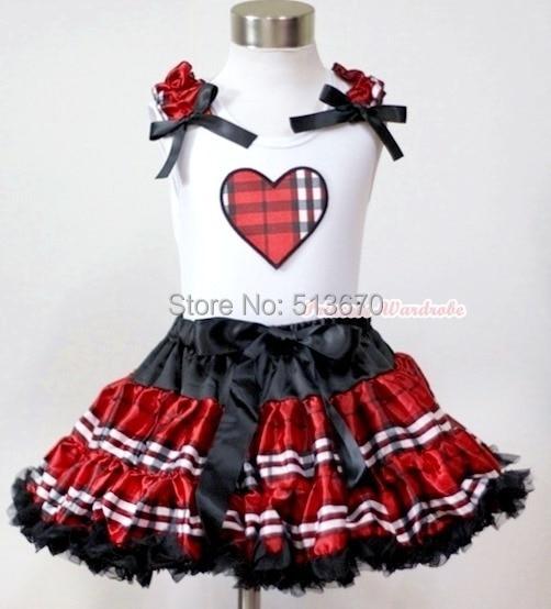 Black Red Check Plaid Pettiskirt Dress Valentine Plaid Heart Ruffle Bow Top 1-8Y MAPSA0226<br>