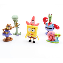 6pcs/Lot 3-6cm Cartoon Anime Spongebob Model Pvc Action Figure Toys Doll Cute Cartoon Sponge Bob Doll Classic Children Toys