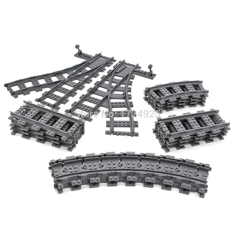 KAZI City Train Track Building blocks Flexible Crossing Straight Curved Plastic Rails Compatible all Train Toys for children