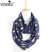 VONRU New Autumn Winter Scarf Women Shiny Bronzing Gold Feather Infinity Scarves Europe Fashion Long Cotton Ring Female Bandana(China)