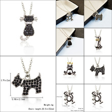 New Cute Little Puppy Dog Panda Dog Puppy Cat Kitty Monkey Pendant Necklace Silver Jewelry Long Cute Delicate Statement Necklace(China)
