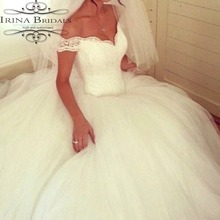 Princess Boat Collar Lace Appliqued Fluffy Ball Gown Ivory Cream Wedding Dress