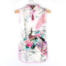 Baby Girl Chinese Qipao Kid Floral Peacock Cheongsam Dress Child Baby Girl Sleeveless Dresses