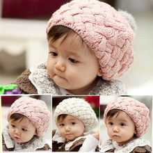 Baby Kid Girls Winter Check Crochet Wool Bobble Hat Knitted Crochet Cap HATBD0061(China)