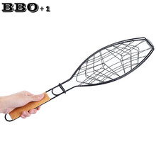 Non-stick Fish Grilling Basket BBQ Meshes Camping Grill Rack Single Fish Basket w/Wood Handle Barbecue Fish Grilled Folder Clip(China)