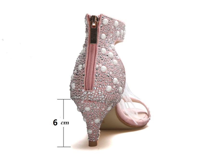 Genuine Leather Women Sandals Summer Shoes High Heels Brand Fur Rhinestone Feather White Woman Wedding Shoes Heels Plus Size 36 3
