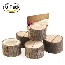 5pcs Wedding Place Wooden Card Holders Natural Wooden Card Holder Seat Folder Rustic Wedding Place Card Table Number Holder(China)