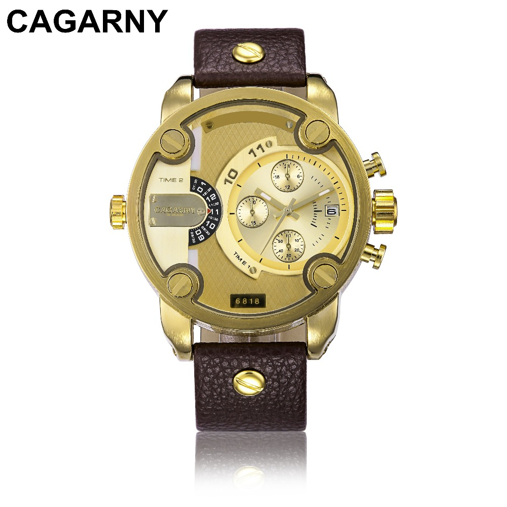CAGARNY Men Watch Multi Movt Numbers Strip Hours Marks Big Dial PU Leather Band Men Quartz Military Wristwatch Relogio Masculino<br><br>Aliexpress