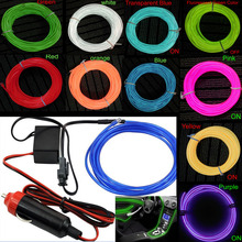 10 Colors Flexible For 1M 2M 3M 5M EL Wire Rope Tube Neon Cold Light Glow Party Car Decoration With Cigarette Lighter 12V DC12V(China)