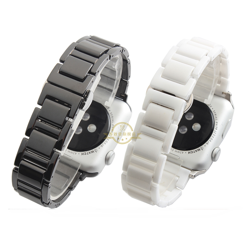 2017 Hot sale 38mm New Apple watchbands  Ceramic  WatchBand Black White watch bracelet  with butterfly buckle<br><br>Aliexpress