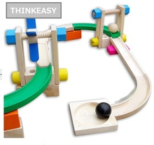 ThinkEasy Wooden Space Raill, Funny Model Building Kit, Roller Coaster Toys DIY Spacewarp Erector Safety Children Education Toys(China)