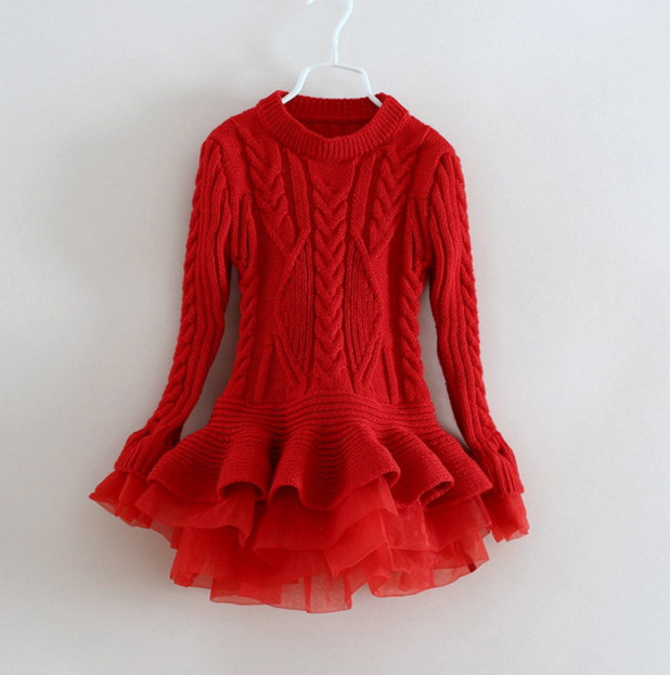 2016 New Baby Girls Christmas sweater Dress Costume children warm winter Dresses Xmas Red color toddler girls Clothing <br>