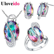 50% Off Uloveido Wedding Jewelry Sets for Women Brides Stud Earrings Ring Necklace Bridal Jewelry Set Costume Jewelery Sets T155(China)