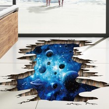 Home Decal Decor DIY Art 3d wall stickers dark blue ceiling Sea Ocean galaxy planet wall Decals for Kids Living Room Modern