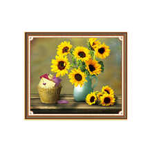 5D diamond drill painting stick cross stitch sunflower room decoration magic cube round diamond embroidery flower new arrival(China)