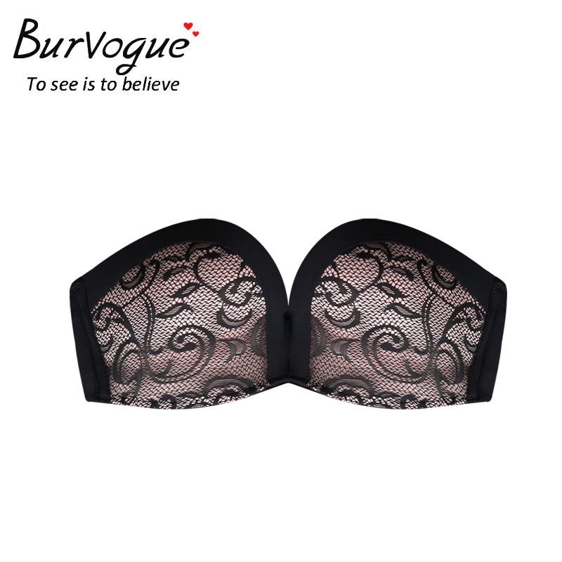 Burvogue Invisible Bra Sexy Strapless Seamless Push Up Bra for Women Underwear Bride Lace Self Adhesive Bras Wedding Brassiere 9