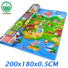 2 Meters Large Baby Crawling Mat Baby Play Mat Baby Play Carpet Doulble Side Baby Activity Mat Cartoon Kids Play Rug PX02(China)