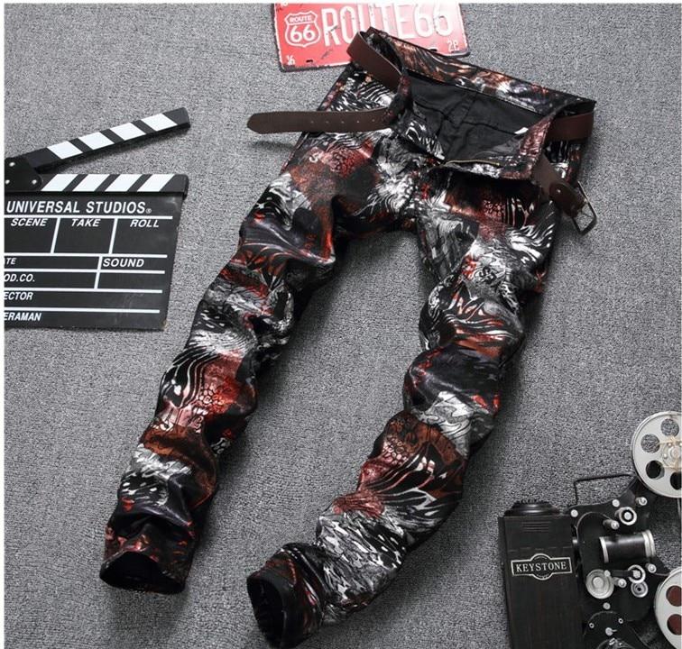 Mens Skinny jeans men 2017 Runway slim Mens jeans denim Biker jeans Print pants Washed black jeans for men blue Trouses #669Одежда и ак�е��уары<br><br><br>Aliexpress